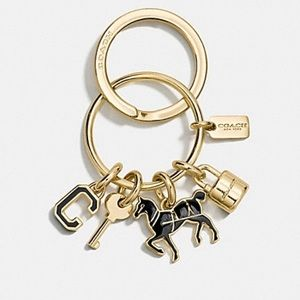 Coach Accessories - Coach Gold and Black Icons Key Ring